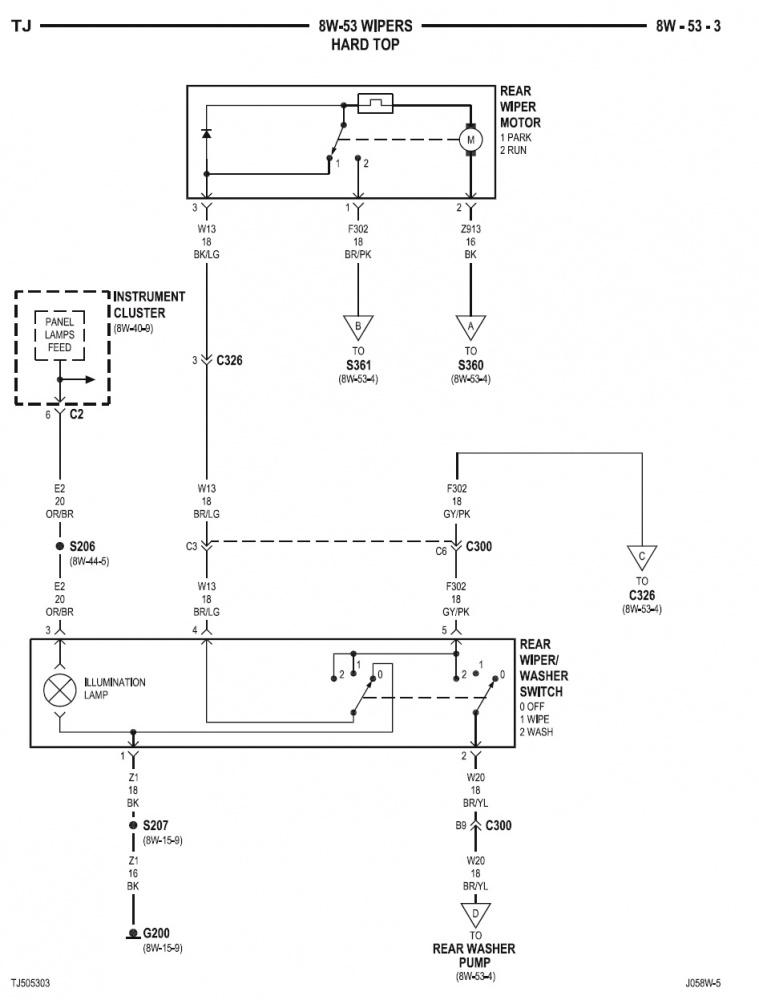 2005 Wrangler rear wiper wiring diagram - Jeep Wrangler Forum