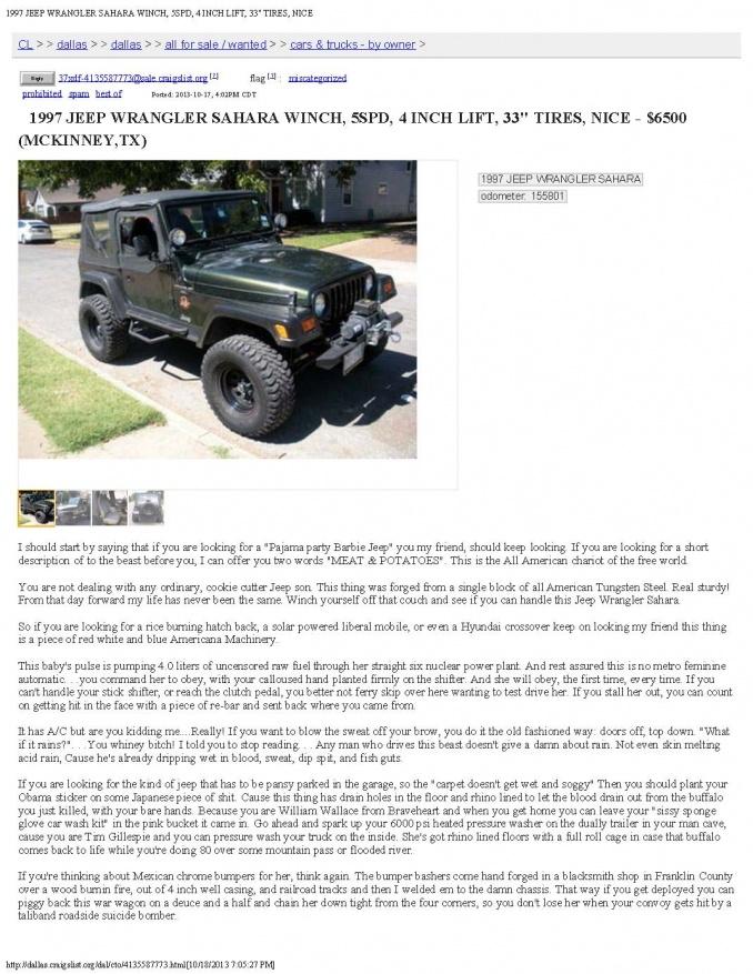 Greatest Craigslist Jeep Ad Ever Jeep Wrangler Forum