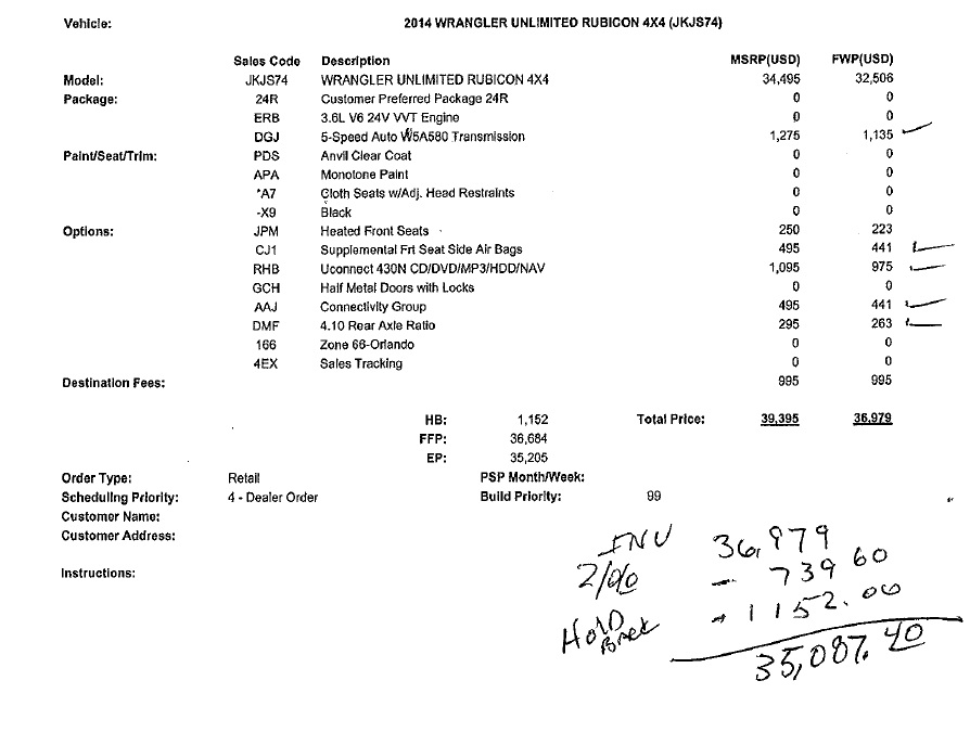 Jeep Build Sheet >> What Did You Pay For Your 2014 Jk Let S Make A Deal Jeep