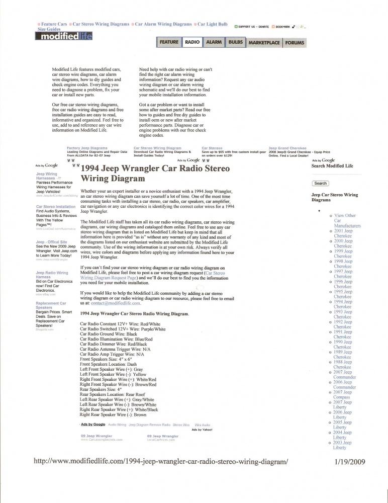 93 Wrangler Radio Wiring Help Jeep Wrangler Forum