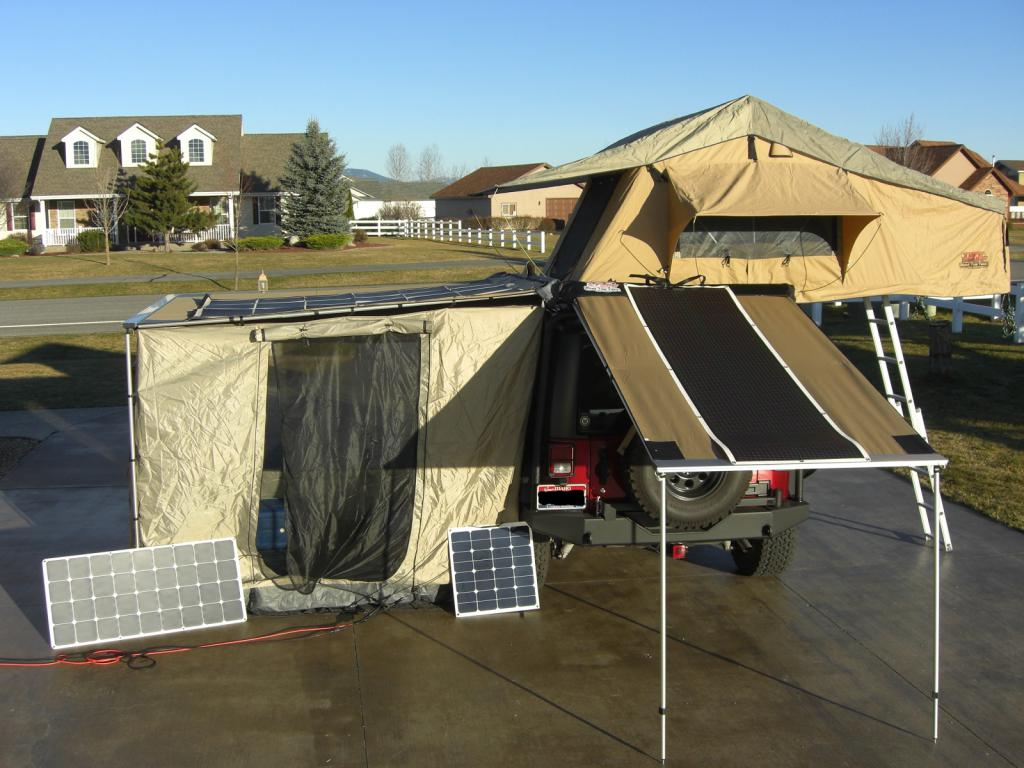 This optional ARB tent room has a zippered door access to JK driver door. Solar panel on awning/tent roof is 120w Powerfilm Military grade foldable water ... & 2DR RTT (Roof Top Tents) - Jeep Wrangler Forum